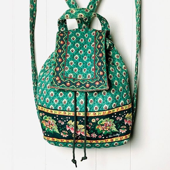 Vera Bradley Green Floral Mini Backpack